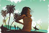 Girl, isla tropical, palmeras en una playa