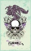 picture of grotesque  - vector skull with floral ornaments on grunge background - JPG