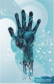 image of cybernetics  - security concept with cybernetic hand - JPG