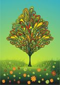 colorful line-art tree on a sunny meadow with flowers