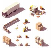 Vector Isometric Low Poly Warehouse Objects And Equipment. Trucks And Crates, Pallets, Warehouse Con poster