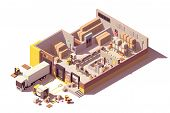 Vector Isometric Low Poly Warehouse Cross-section With Trucks, Crates And Pallets, Loading Docks, Bu poster