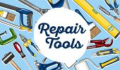 Repair Tools Banner In Hand Drawn Style. Tools Shop Poster. Top View Mechanic Instruments Vector Ill poster