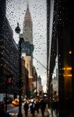 Chrysler Building On An Overcast Evening. Blurred New York City Street Background With Water Drops,  poster