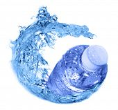 plastic bottles in water swirl