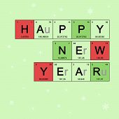 New Year Banner With Elements Periodic Table, Scientific Theme, Chemistry - Christmas Card On Light  poster