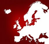 Red Map Of Europe poster