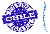 Map Of Chile Vector Mosaic And Pure Water Grunge Stamp. Map Of Chile Designed With Blue Aqua Tears.  poster
