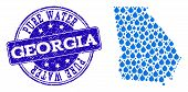 Map Of Georgia State Vector Mosaic And Pure Water Grunge Stamp. Map Of Georgia State Designed With B poster