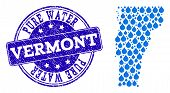 Map Of Vermont State Vector Mosaic And Pure Water Grunge Stamp. Map Of Vermont State Composed With B poster