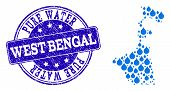 Map Of West Bengal State Vector Mosaic And Pure Water Grunge Stamp. Map Of West Bengal State Designe poster