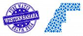 Map Of Western Sahara Vector Mosaic And Pure Water Grunge Stamp. Map Of Western Sahara Composed With poster
