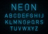 Neon Blue Font. Blue Neon Tube Alphabet Font. English Alphabet And Numbers Sign. Glowing Text Effect poster