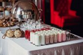Candy Bar On Birthday Party With A Lot Of Different Candies, Cupcakes, Souffle And Cakes, Milkshakes poster