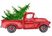 Red Christmas Truck With Pine Trees New Year Hand Drawn Watercolor Illustration poster