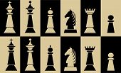 Set Of Chess Pieces On Chessboard Fields, White Piece On Black Field, Black Piece On White Field poster