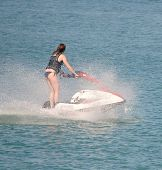 Young Woman On A Jetski