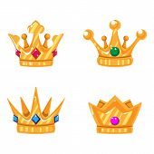 Set Of Gold Crown Icons With Gems. Collection Of Crown Awards For Winners, Champions, Leadership. Ve poster