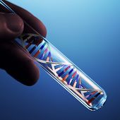 stock photo of modification  - dna molecule in test tube - JPG