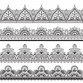 Mehndi Indian Design. Henna Oriental Seamless Borders. Indian Floral Ornament Vector Frames. Illustr poster