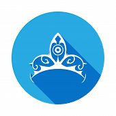 Diadem Icon With Long Shadow. Diadem Element Icon With Long Shadow. Baby Sign, Outline Symbols Colle poster