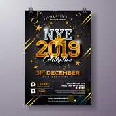 2019 New Year Party Celebration Poster Template Illustration With Shiny Gold Number On Black Backgro poster