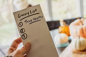 Grocery List With Note To Self For Healthy Eating New Year Resolution Getting In Shape Over The Than poster