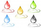 Vector of colored design drops