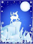 vector of winter deer on the cliff