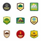 Camp Expedition Logo Emblem Set. Flat Set Of 9 Camp Expedition Vector Logo Emblem For Web Design poster