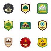 Camp Expedition Logo Emblem Set. Flat Set Of 9 Camp Expedition Vector Logo Emblem For Web Design poster