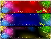 Set of banners with fireworks