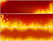 Banner flame on a red background