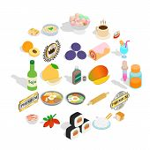 Food With Vitamin Icons Set. Isometric Set Of 25 Food With Vitamin Vector Icons For Web Isolated On  poster