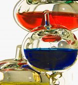 image of galileo-thermometer  - Multiciloured glass bubbles in a Galileo themometer - JPG