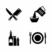 Cooking, Kitchen Tools. Simple Related Vector Icons Set For Video, Mobile Apps, Web Sites, Print Pro poster