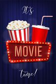 Its Movie Time Banner Template. Vector Pop Corn Basket, Cola Cup And Movie Sign On Blue Curtain Back poster