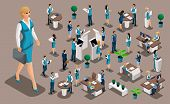 Isometric Set 2, Bank Icons With Bank Employees, Woman Bank Worker, Customer Service Manager. Financ poster