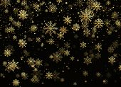 Falling Gold Snowflakes. Golden Snowfall. New Year And Christmas Pattern With Golden Snowflakes On B poster