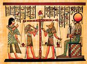 antique egyptian papyrus and hieroglyph