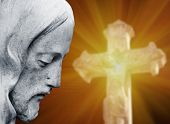 Jesus Christ In Profile Against A Blured Statue Of Crucifixion Of Jesus Christ With Cross (religion, poster