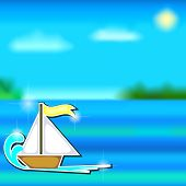 Cartoon Boat Sticker And Sea