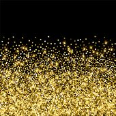 Sparkling Gold Luxury Sparkling Confetti. Scattered Small Gold Particles On Black Background. Adorab poster