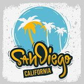 San Diego California Surfing Surf  Design  Hand Drawn Lettering Type Logo Sign Label For Promotion A poster