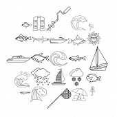 Wet Icons Set. Outline Set Of 25 Wet Vector Icons For Web Isolated On White Background poster