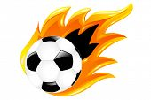 Soccer Ball And Burning Soccer Ball, Isolated On White