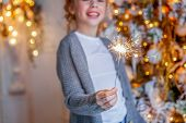 Little Girl With Sparkler Near Christmas Tree On Christmas Eve At Home. Young Kid In Light Bedroom W poster
