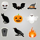 Halloween Symbols And Elements, Stickers Set, Vector Illustration
