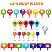 27 GPS Color Map Icons, Isolated On White Background, Vector Illustration