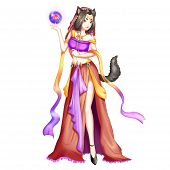The Demon Cat Girl With Anime And Cartoon Style. Video Game Digital Cg Artwork, Concept Illustration poster